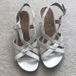montego bay White Cork Wedge Strappy Heels
